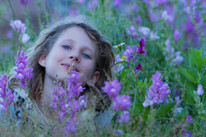 Young girl in wildlflower meadow