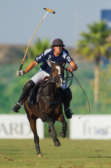 Polo player in action