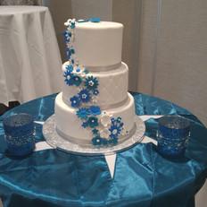 Blue Flower Wedding Cake