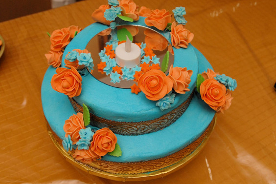 Blue Candle Ribbon Cake