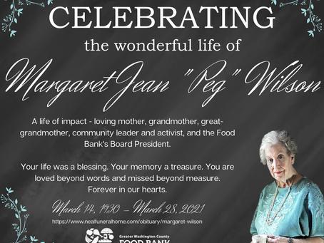 "Celebrating the Wonderful Life of Margaret Jean ""Peg"" Wilson"