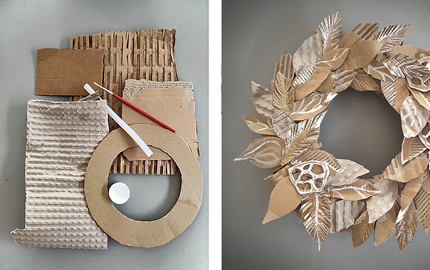 Christmas tip - Wreaths made from cardboard boxes
