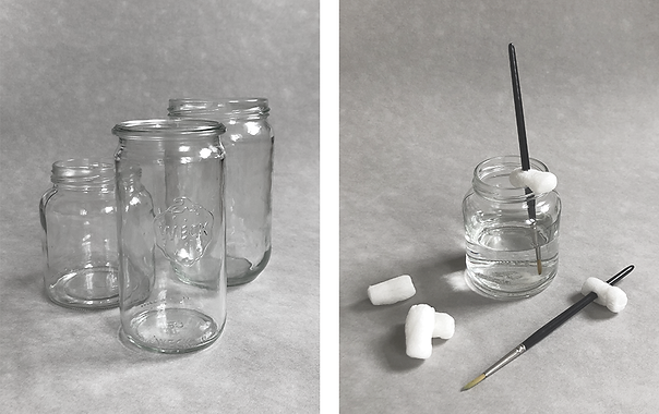 Collecting glass jars and foam