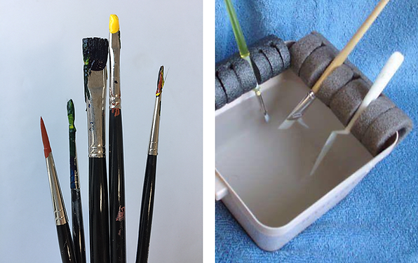 Pool noodles as holder for brushes