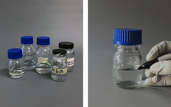 Reducing adhesive and solvent waste by proper labelling