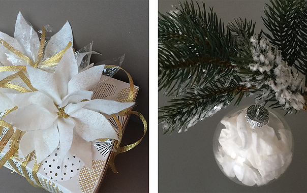 Christmas tip - Melinex and cloth as gift bows and baubles