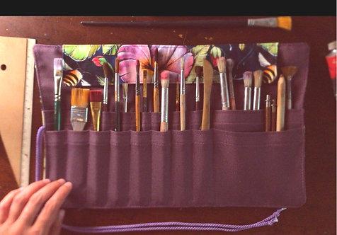 'Hummingbird' Roll-up Paintbrush Carrier