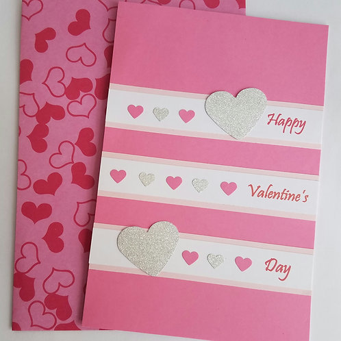 Pink Hearts Valentine's Day Card