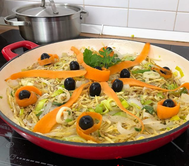 Vegan à Brás made with leeks