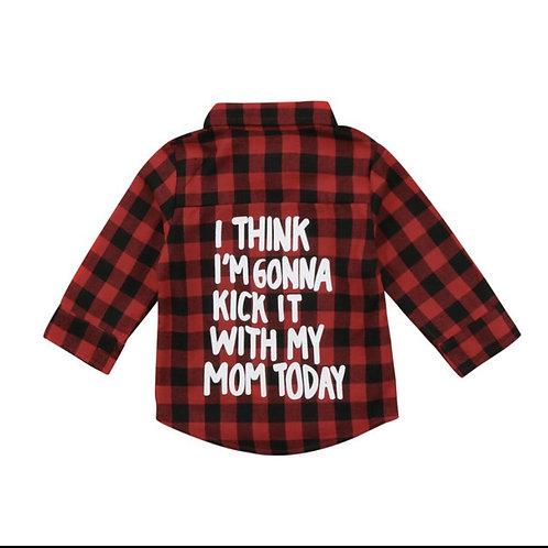 I think I'm gonna kick it with mom today plaid shirt