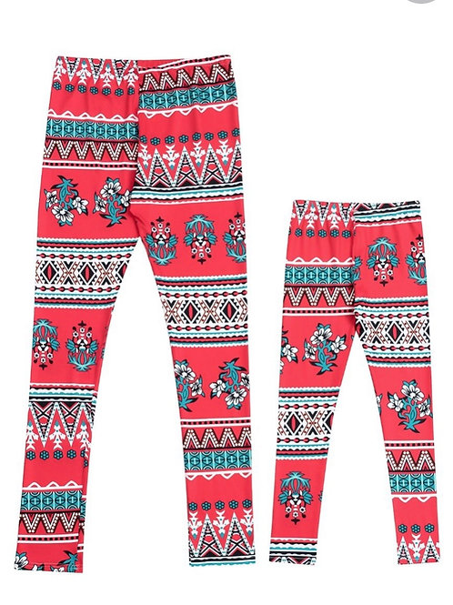 Red printed tights **Adults**