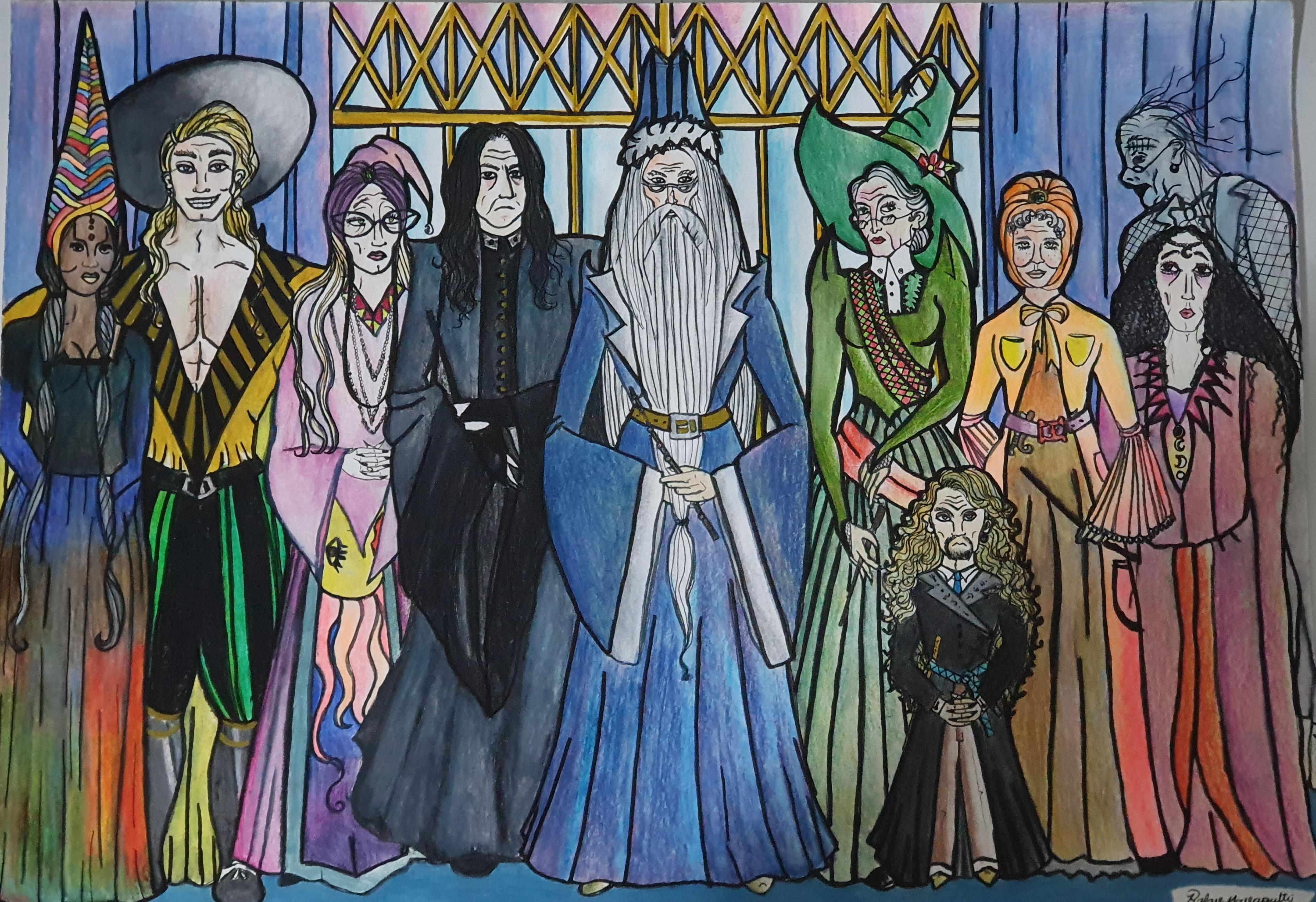 Professores de Hogwarts - fanart inspirada no mundo mágico de Harry Potter