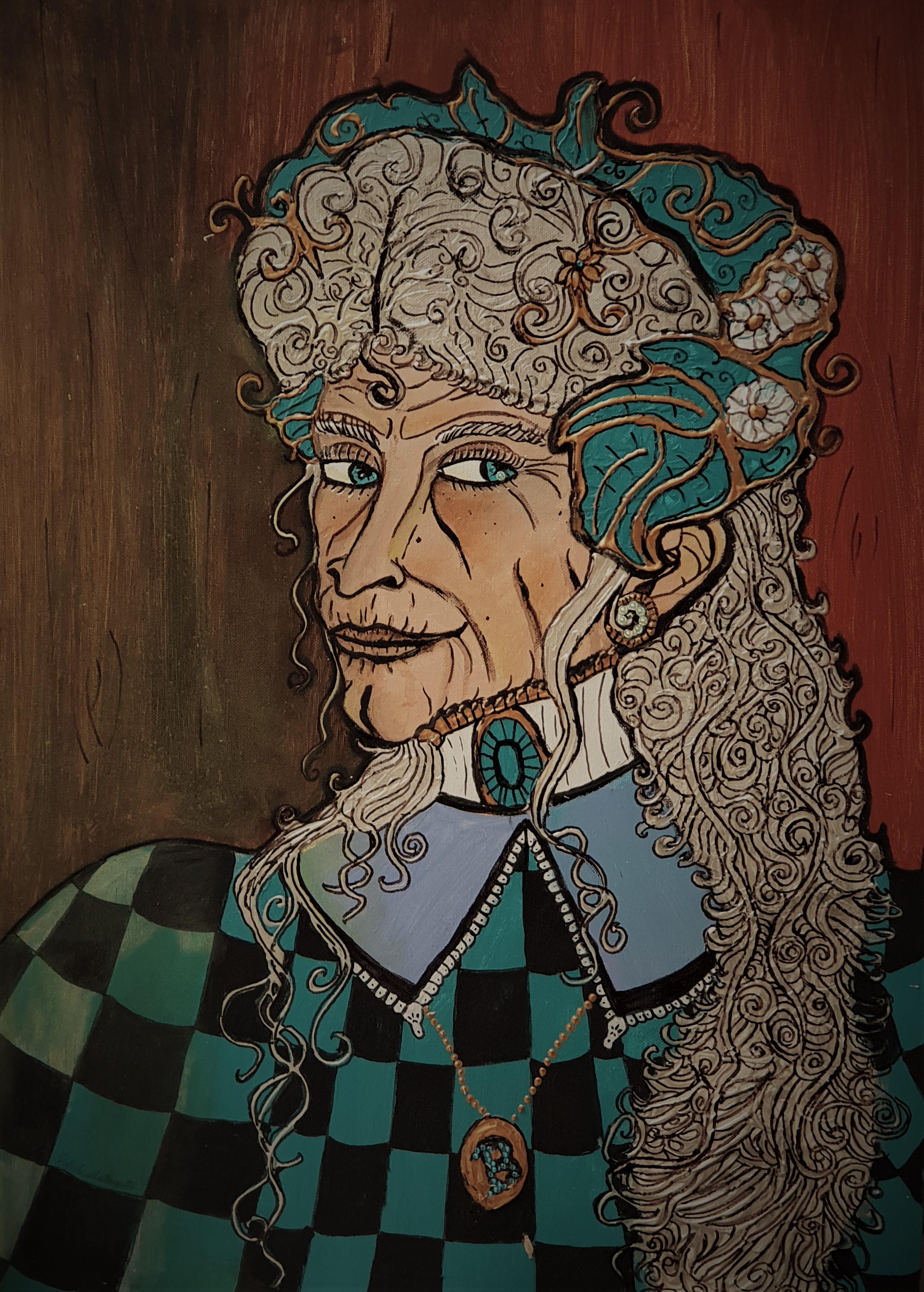 """Geraldine Banks - quadro pintado para o cenário do espetáculo """"Procura-se"""""""