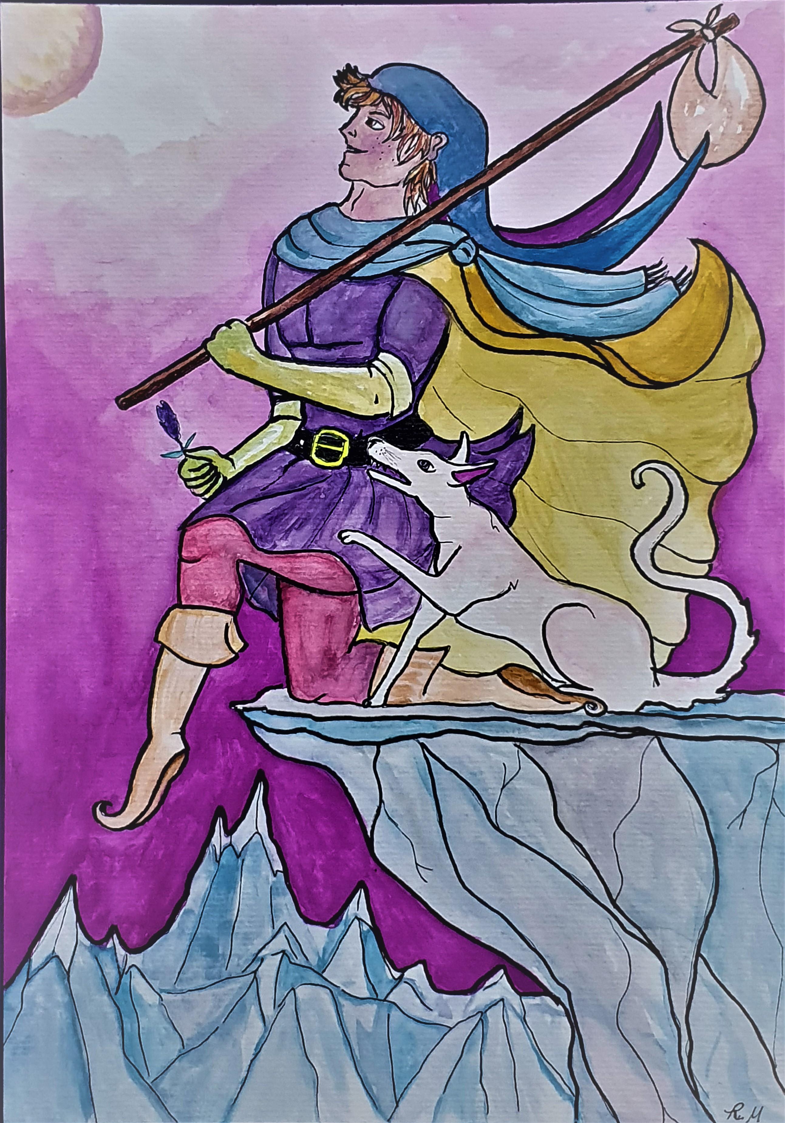O Louco - Ilustração feita para o tarô Lavanda