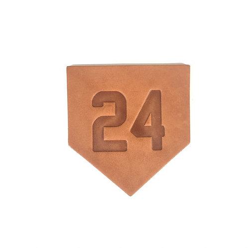 Custom Number Leather Homeplate Coasters - Set of 4