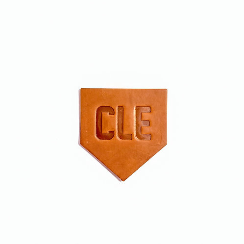 CLE Baseball Stitching Leather Homeplate Coasters - Set of 4