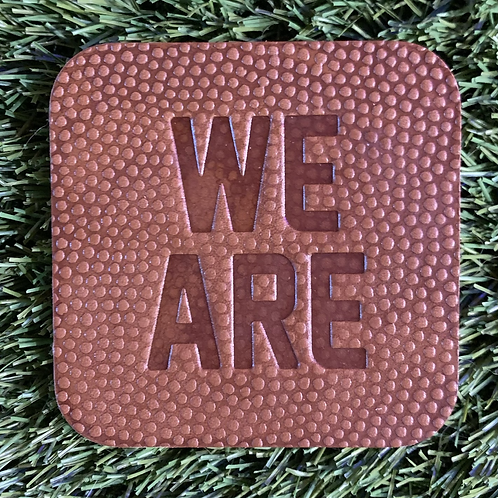 """We Are"" Leather Coasters - Set of 4"
