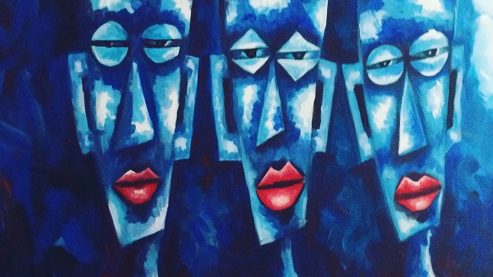 Blue women with red lips