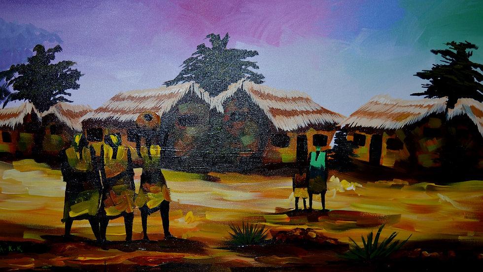 Village somewhere (36x18inches)