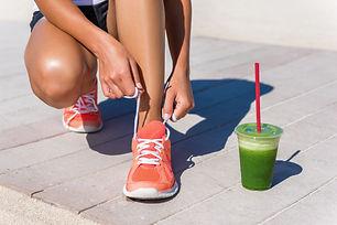 Running woman athlete runner getting rea