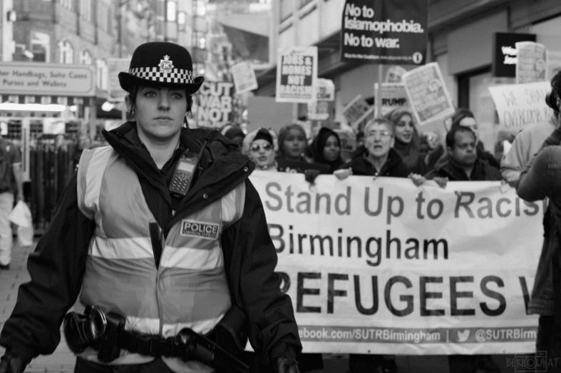 """""""Donald Trump, you are scum, you're not welcome here in Brum!"""""""