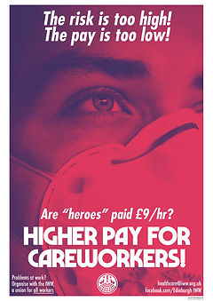 higher pay for careworkers IWW poster