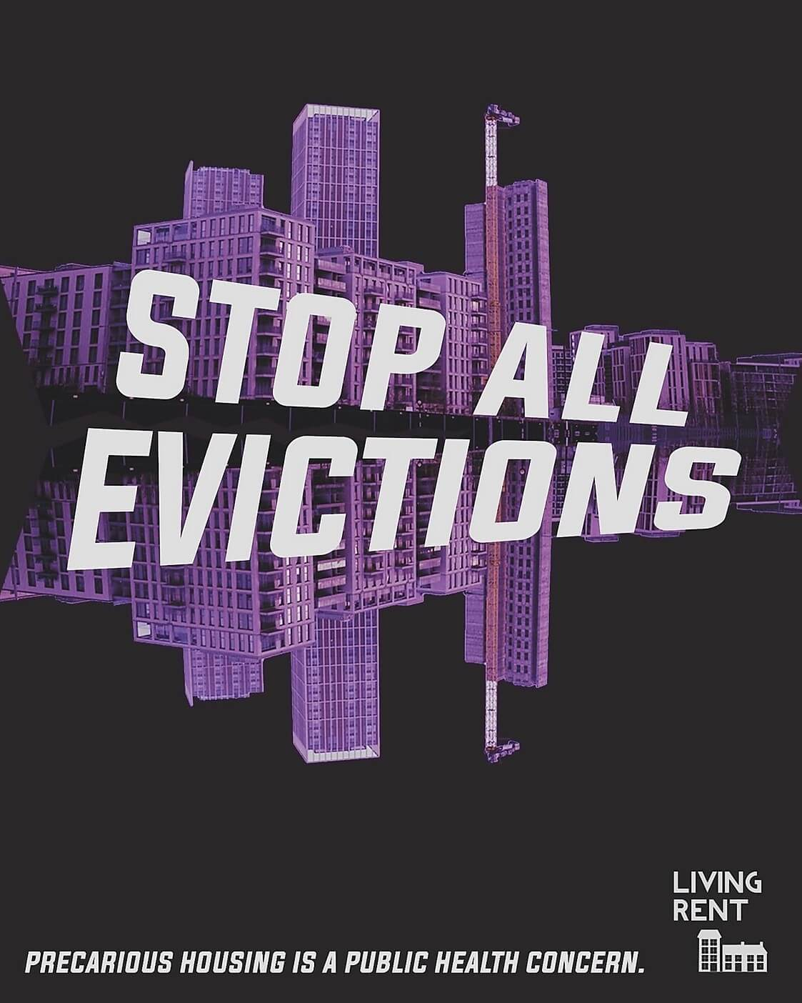 Stop all evictions living rent coronavirus poster