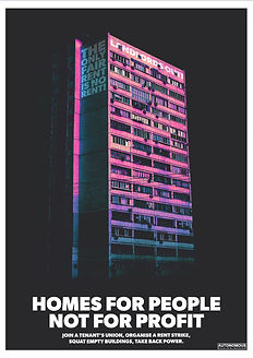 homes for people not profit poster