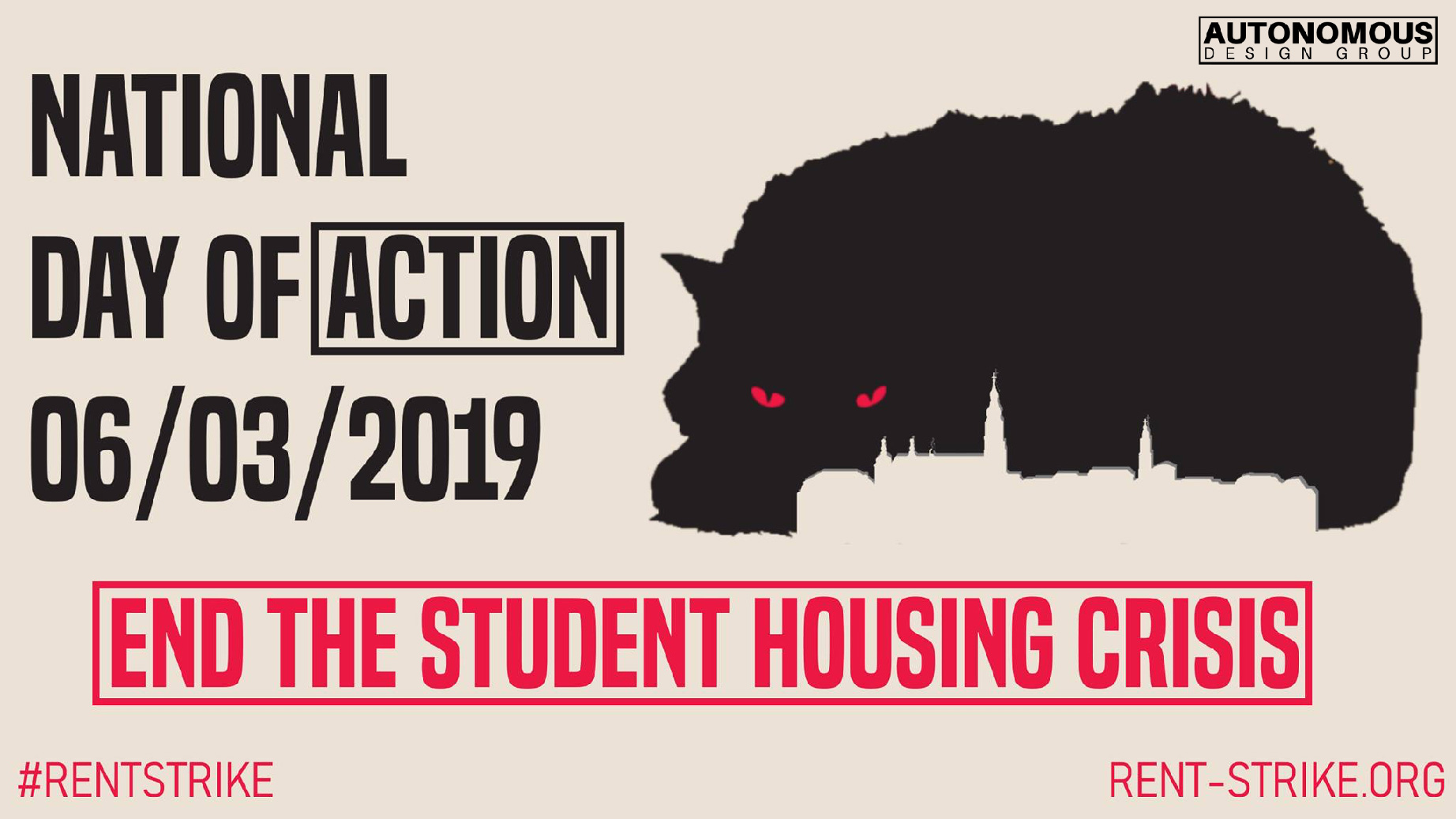 national day of action end the student housing crisis poster rent strike