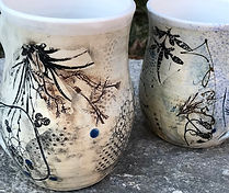 Mugs with texture, glaze transfers, hand painted illustration, spray glaze and more!