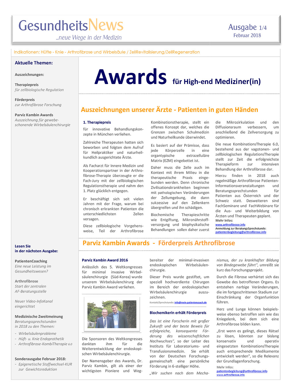 Förderpreis Arthrofibrose Parviz Kambin Awards