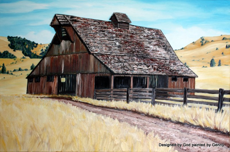 """Fallen Oregon Barn"""