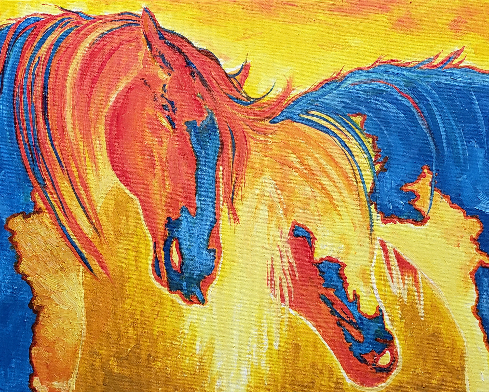 Yellow Electric Horses  SOLD