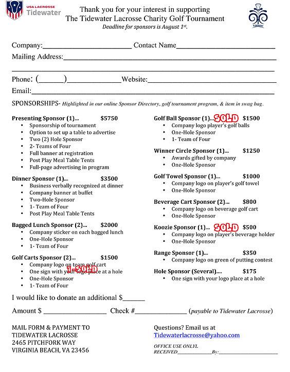 TLax Golf Tournament Sponsor Form USL-SO