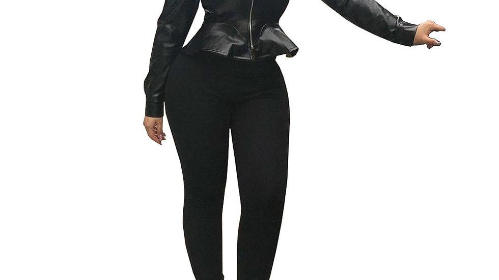 Faux Leather Ruffles Jacket Biker Coat