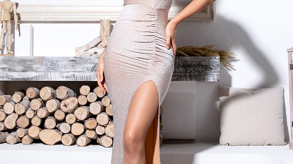 Criss-cross Backless Split Thigh Glitter Maxi Slip Dress