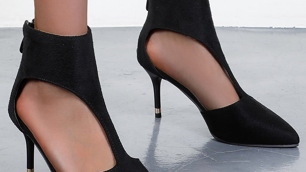 Point Toe Cut-out Mid Heeled Stiletto Pumps