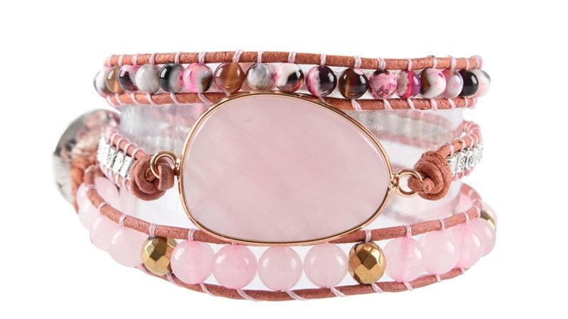Leather Wrap Bracelet Natural Stones Beads Weaving Statement Boho Bracelet