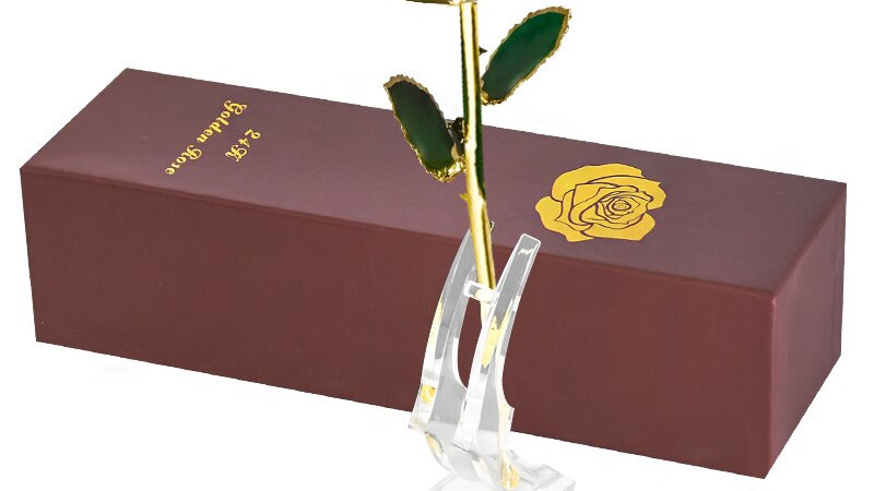 24k Gold Dipped  Artificial  Eternal Rose With Stand Forever Love