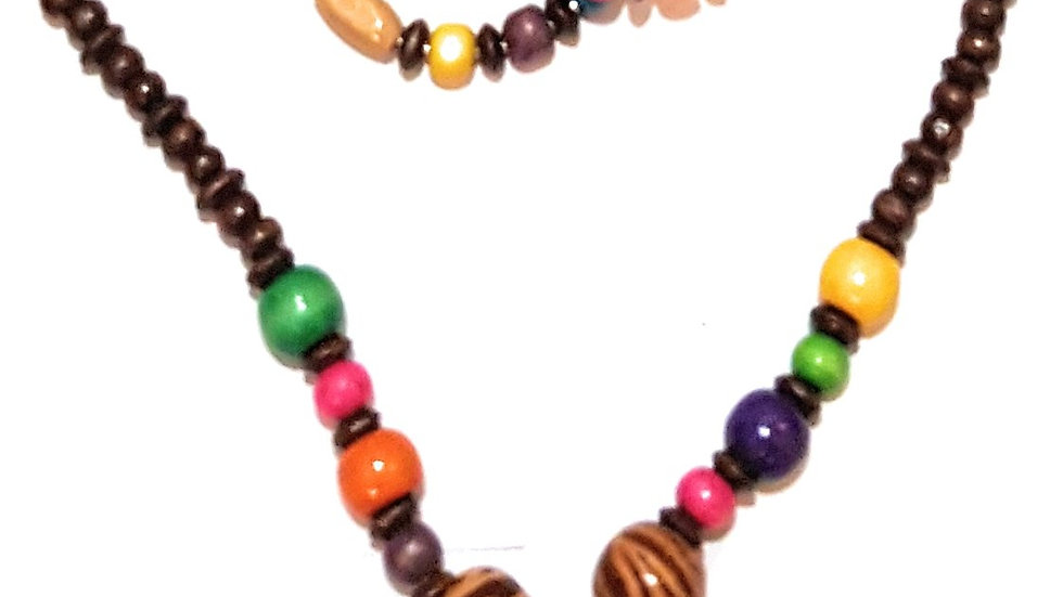 Wooden and Beaded Africa  Necklace and Earrings Set