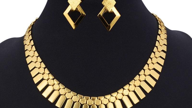 Gold Color Earrings Choker Necklace Set