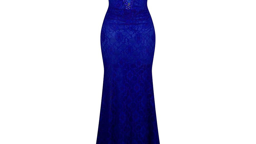 Women's V Neck Evening Dress Pleated Lace Mother of Bridesmaid Dresses
