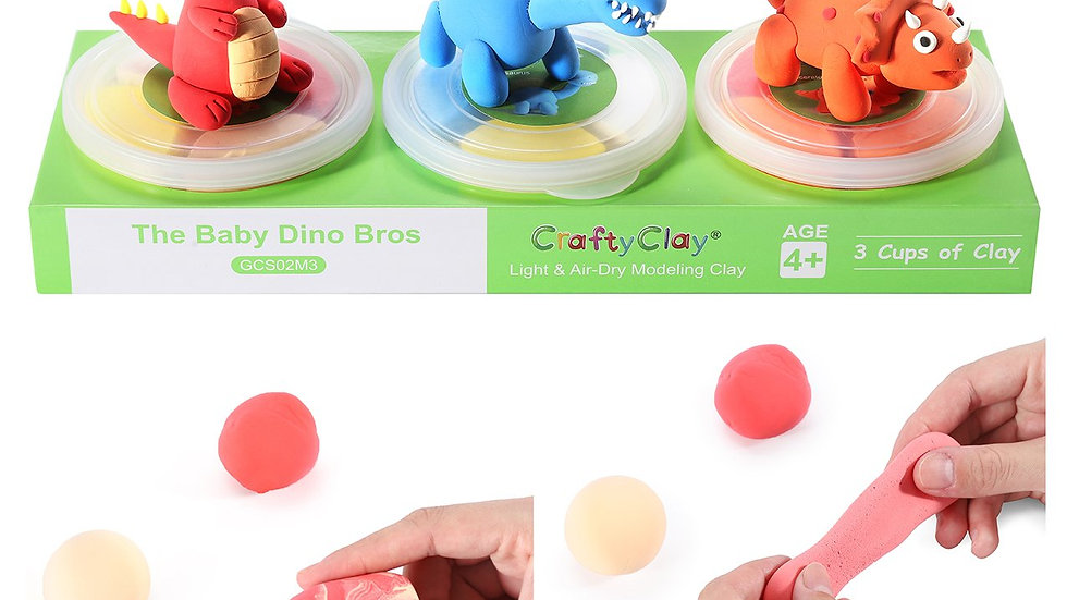 The Baby Dino Bros | 12 Color Premium Quality Air Dry Modeling Clay Kit for Kids