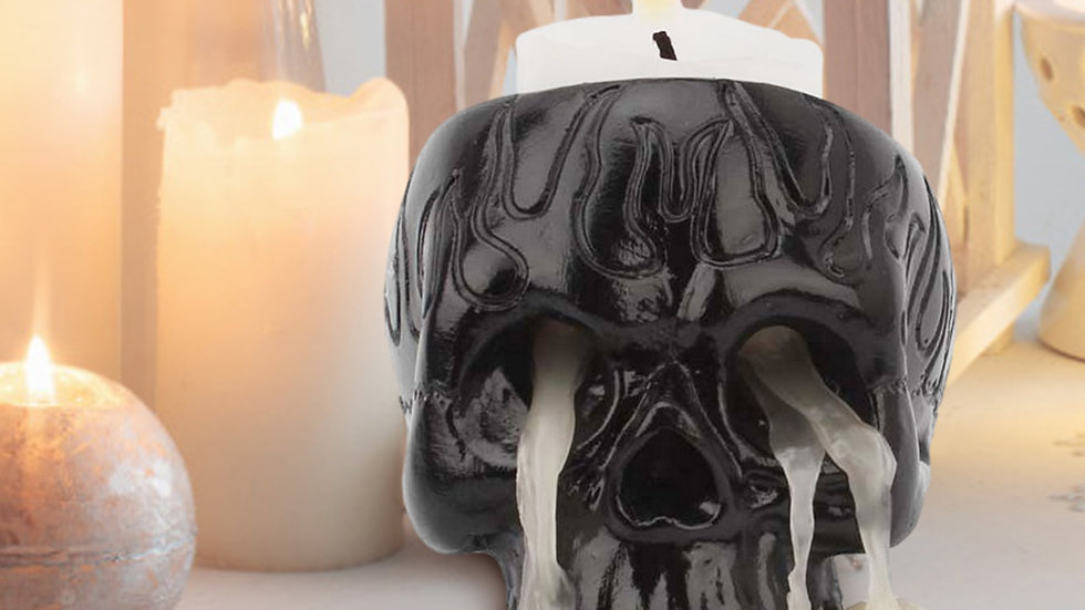 Novel Black Fire Pattern Skull Candle Holder2.3x2.5 inches