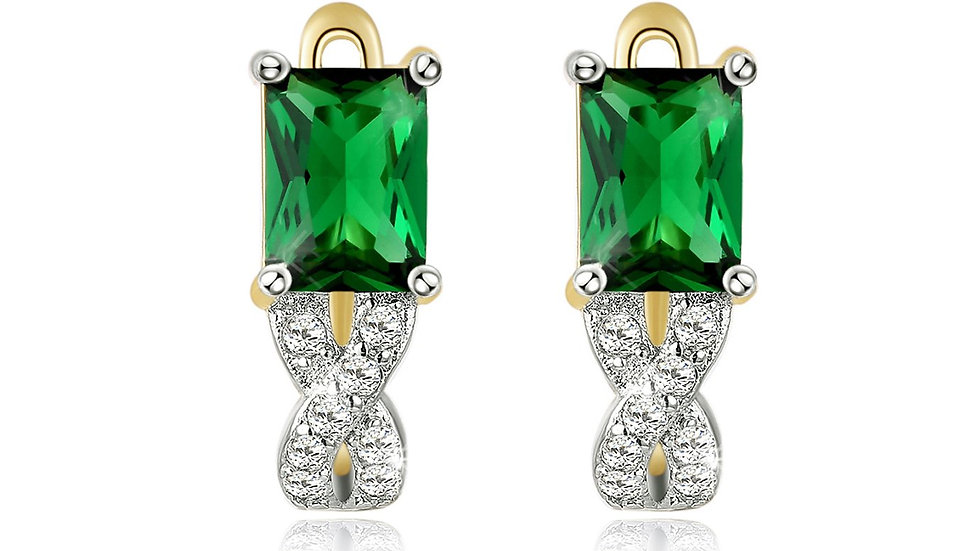 14K Gold Plating Emerald Cut Emerald Twisted Pav'e Lever back Earrings