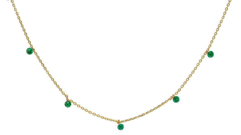 Golden Mini Emerald Stone Necklace