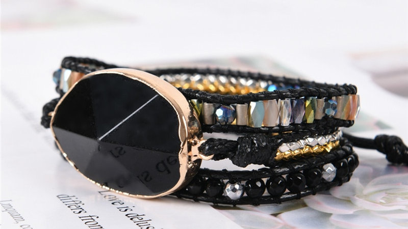 Wrap Bracelet Natural Stone Beaded Black Onyx