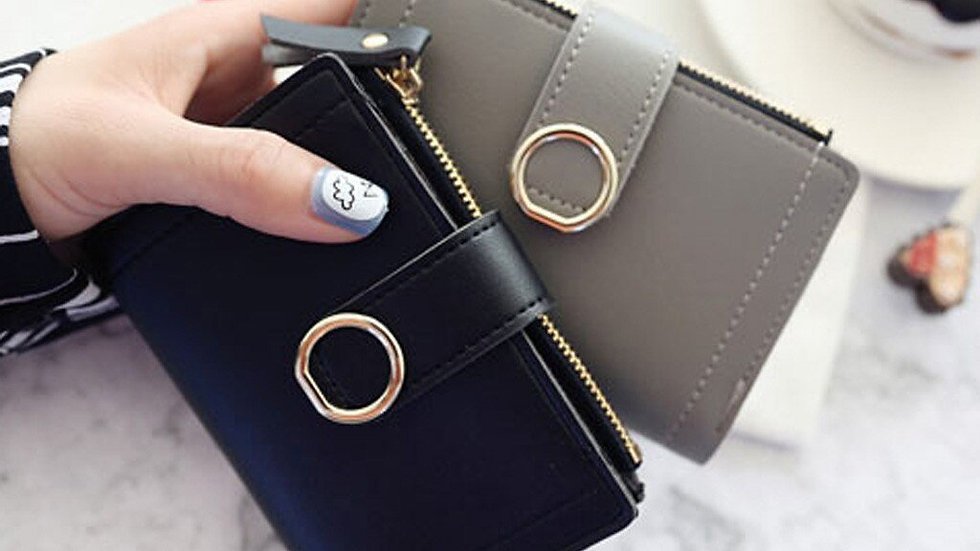 Women Short Wallets Style Fashion Pure Color Lovely Coin Purse Card