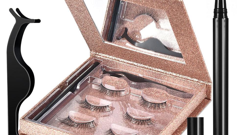 Eyelashes Kit: Eyeliner & Tweezers Reusable Waterproof False Lashes(3 Pairs)