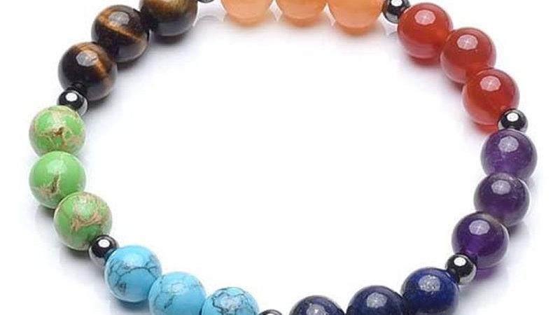 Beaded Bracelet 7 Chakra Yoga crystal stone beads string gallstone energy Brace